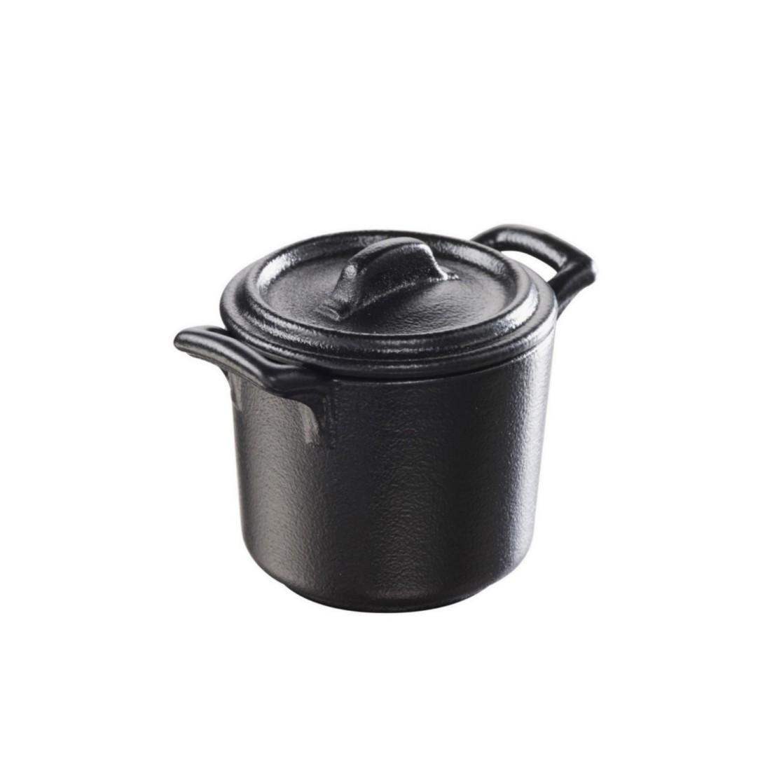 Minihrnec vysoký černý s pokličkou