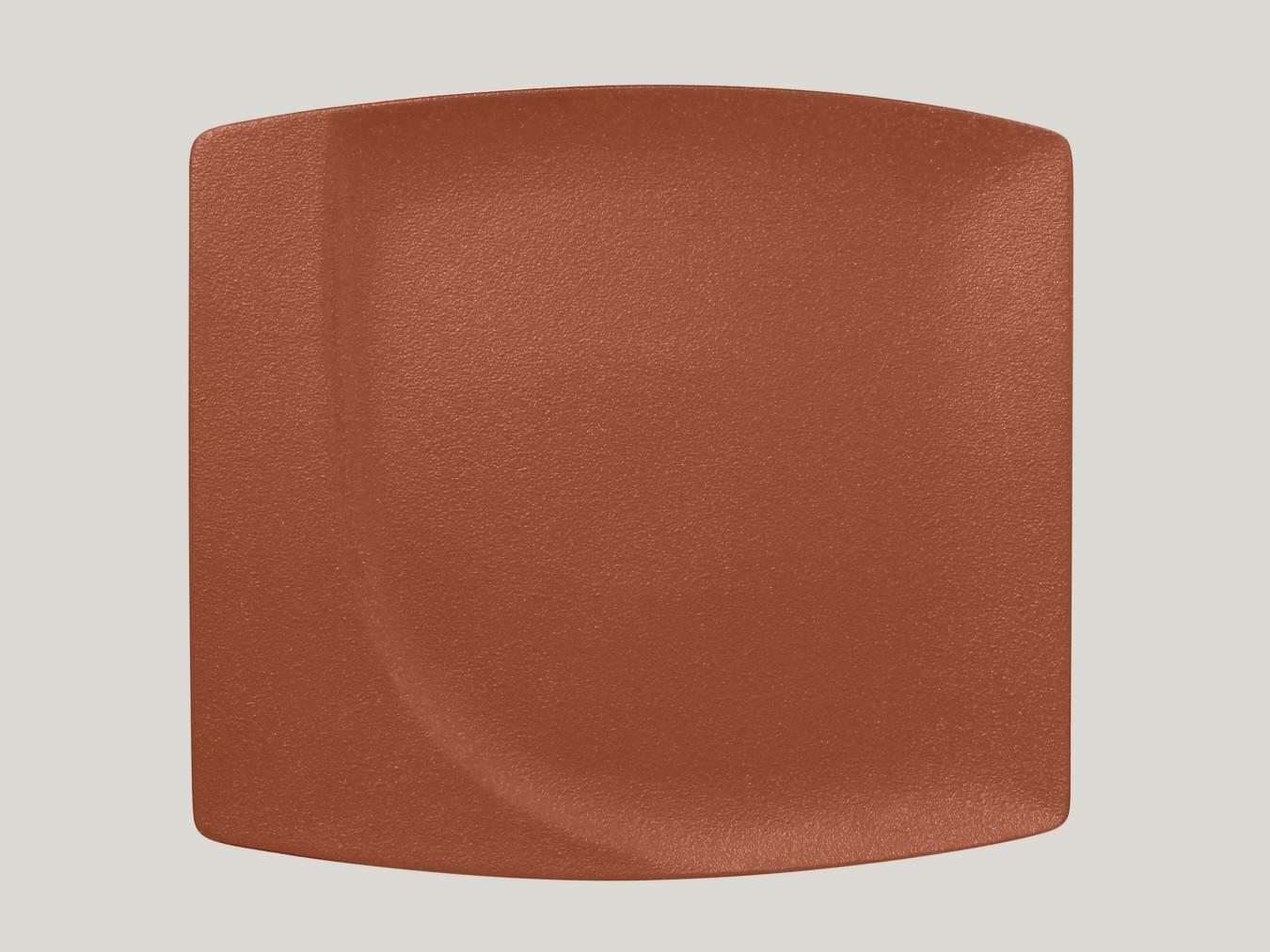 Čtvercový mělký talíř - hnědá Neofusion