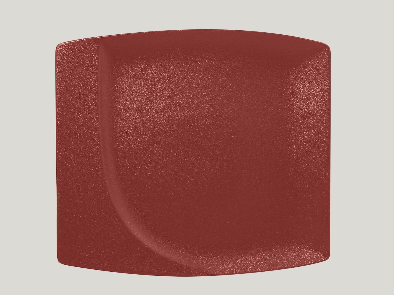 Čtvercový mělký talíř - tmavě červená Neofusion