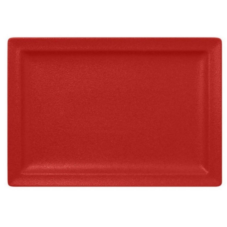 Talíř mělký obdélný 33cm - světle červená