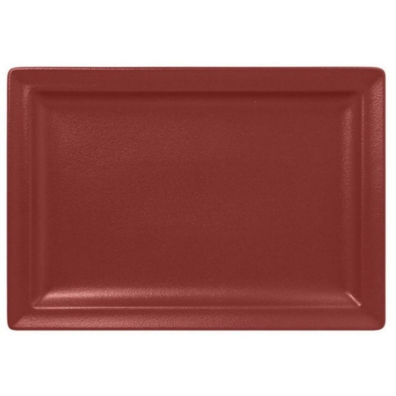 Talíř mělký obdélný 33cm - tmavě červená