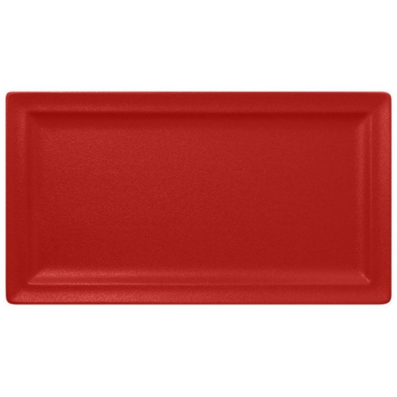 Talíř mělký obdélný 38cm - světle červená