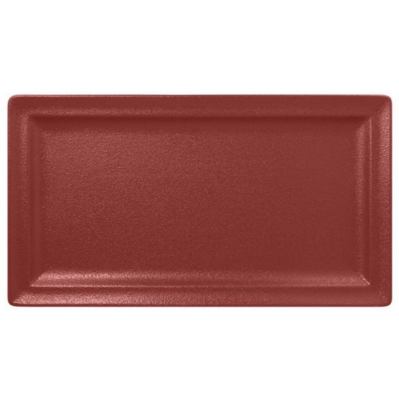 Talíř mělký obdélný 38cm - tmavě červená