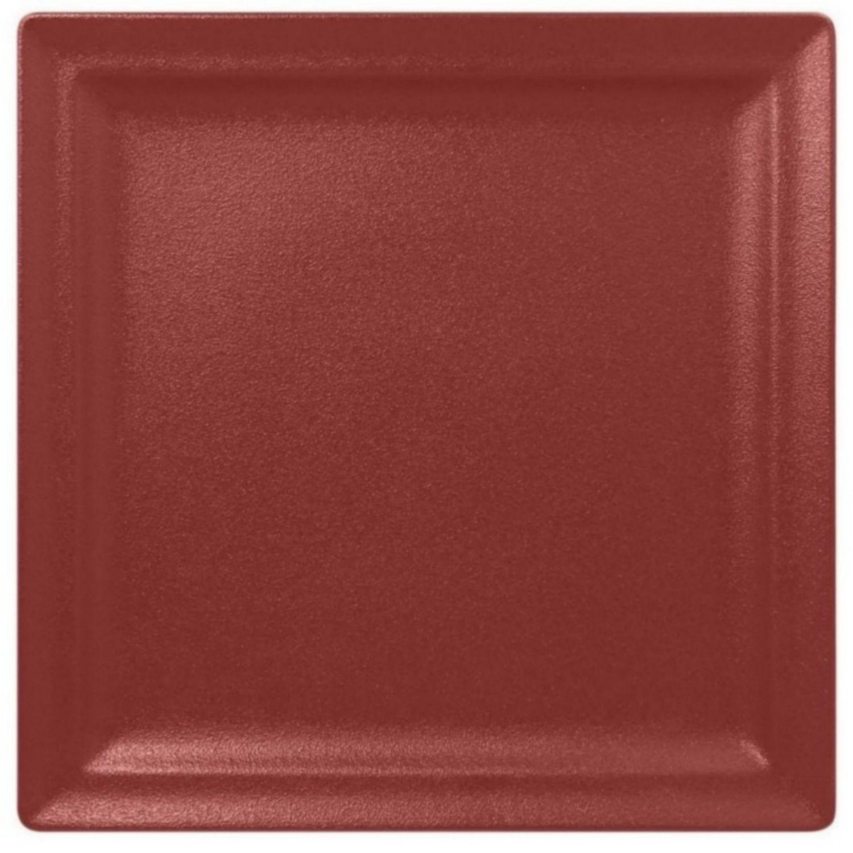 Talíř mělký čtvercový 30cm - tmavě červená