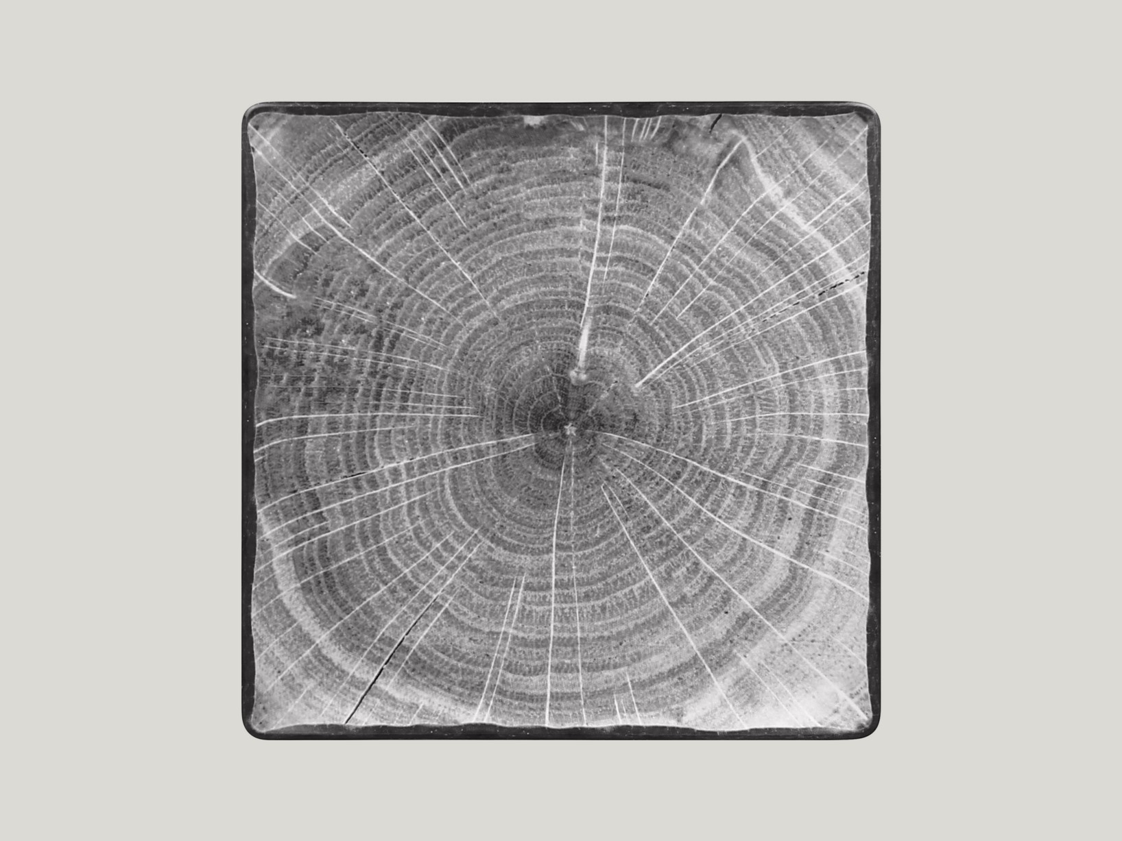 Čtvercový talíř - šedá Woodart