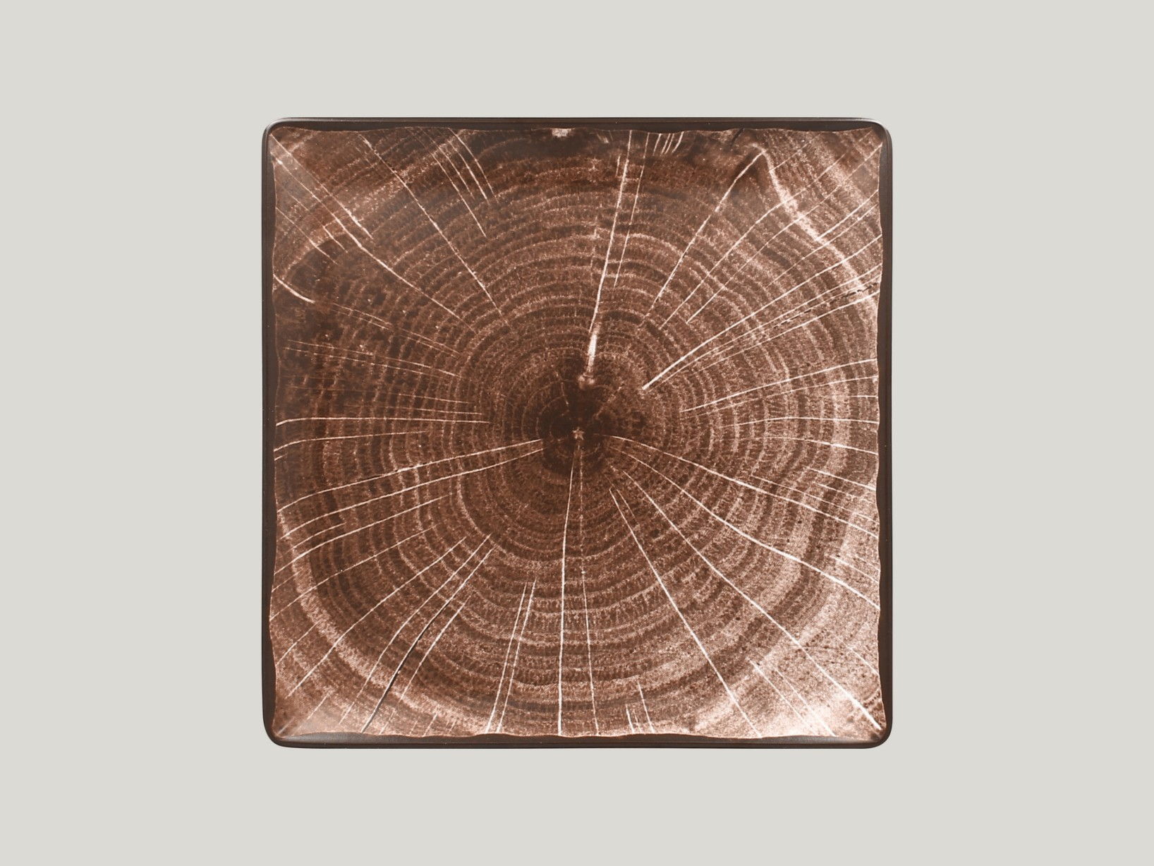 Čtvercový talíř - tmavě hnědá Woodart