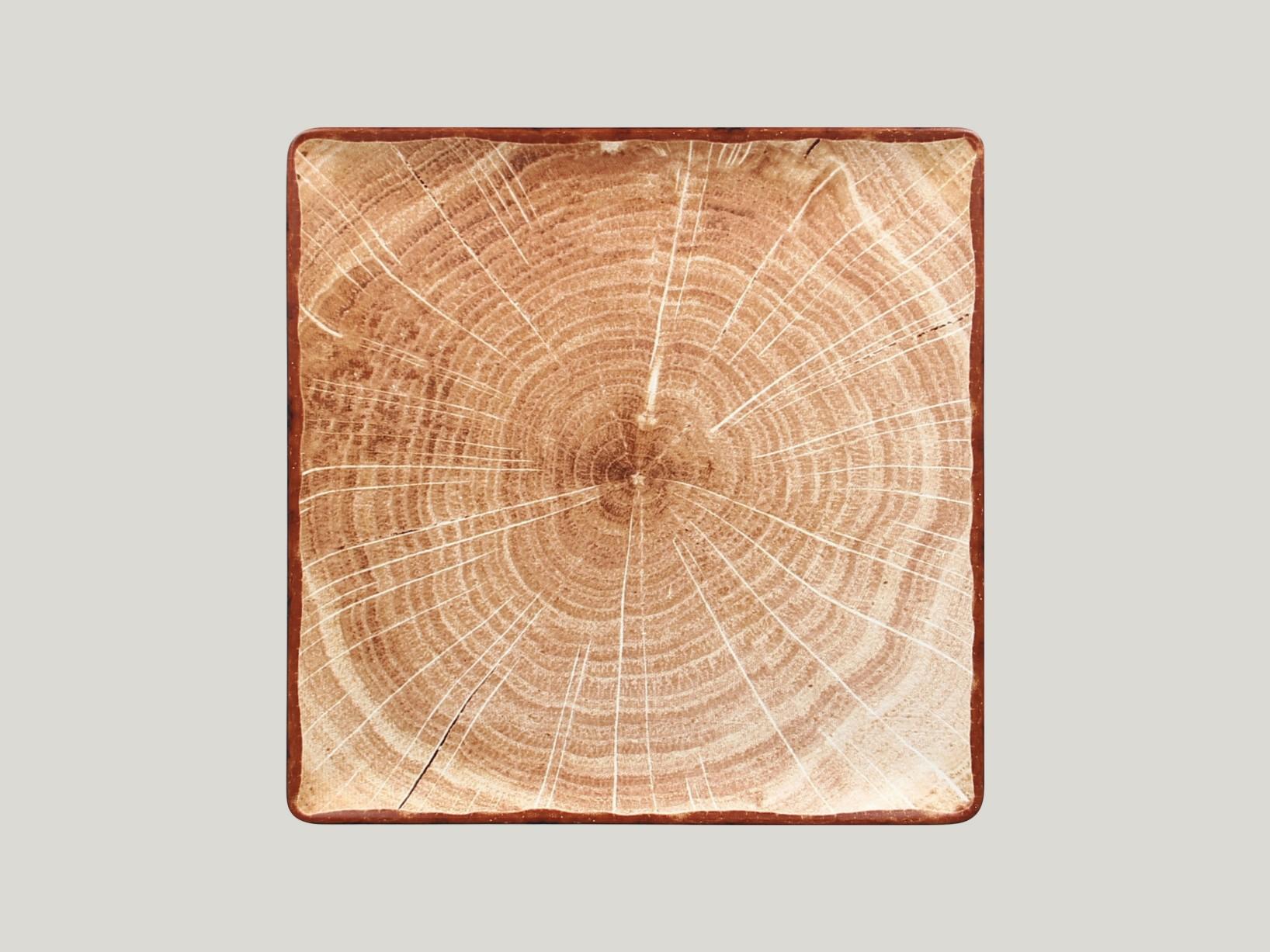 Čtvercový talíř - světle hnědá Woodart