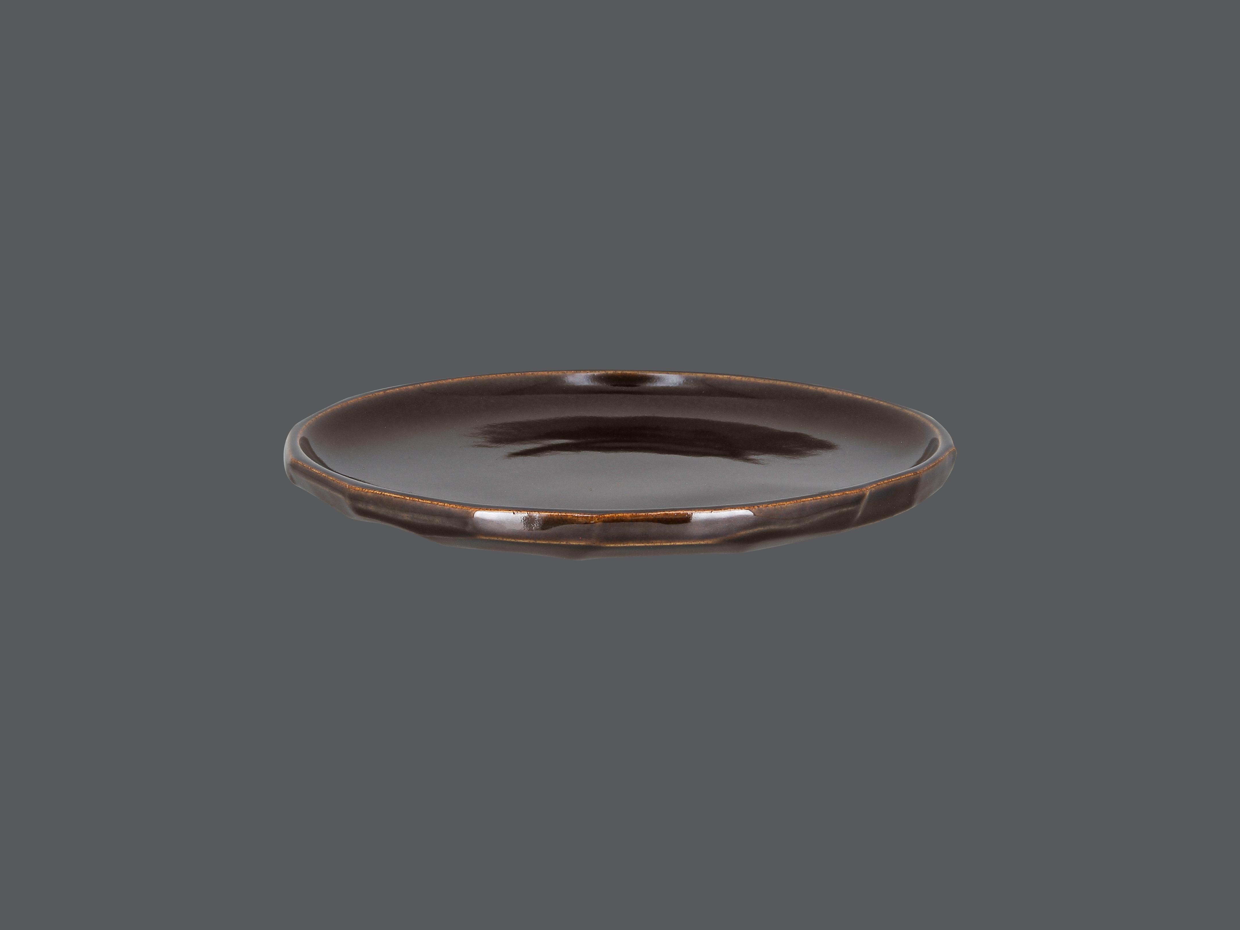 Talíř řezaný mělký 24 cm - hnědý