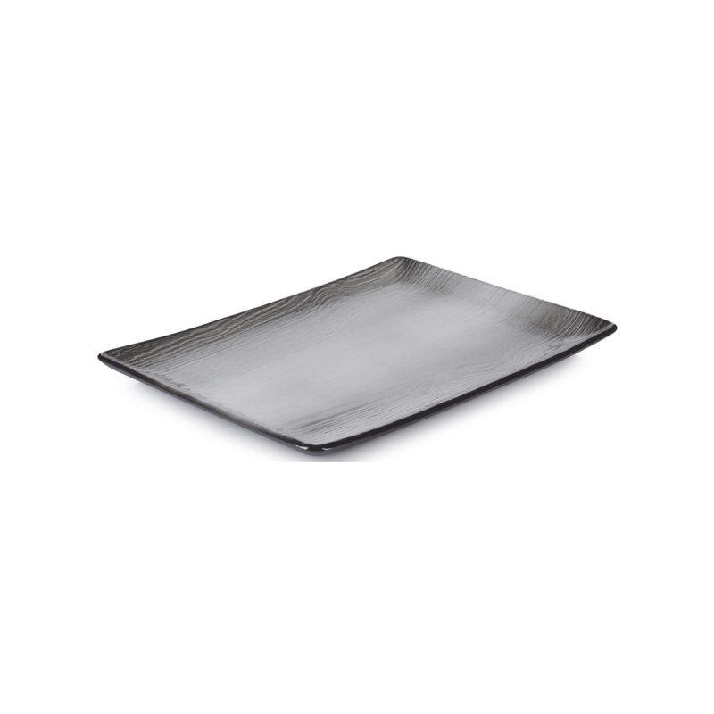 Talíř obdélníkový 32×23 cm - černý písek