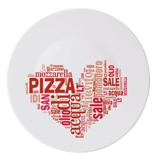 Talíř na pizzu srdce červené 33 cm