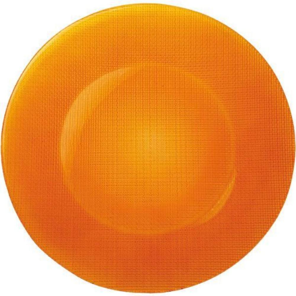 Talíř skleněný mělký pr. 31 cm - oranžový