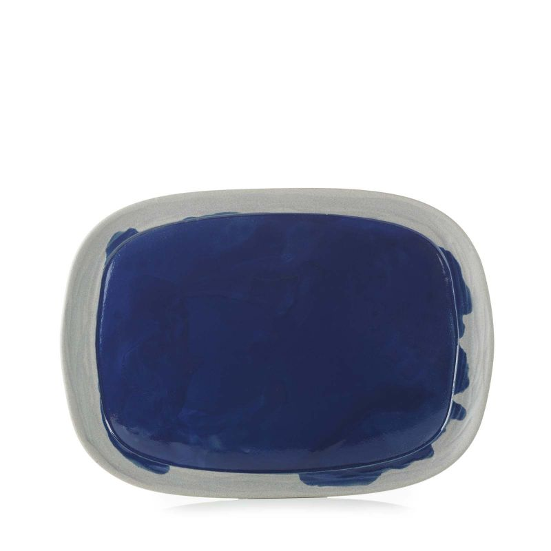 Talíř obdélný 33×24 cm - modrý