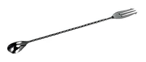 Lžička barmanská s vidličkou 30 cm, černá