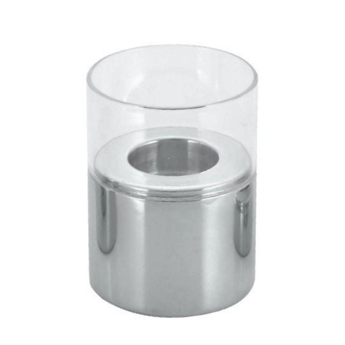 Svícen nerez + sklo 8x13,5 cm
